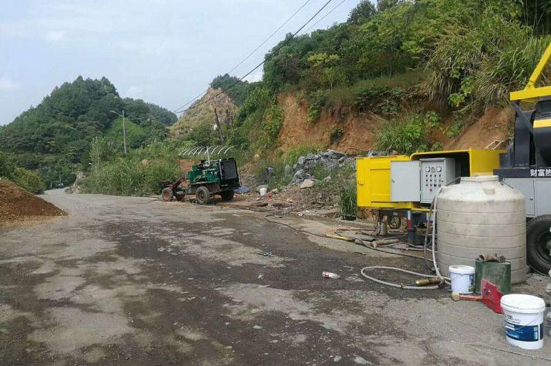 滚筒式搅拌拖泵,24小时江门新台隧道施工纪实