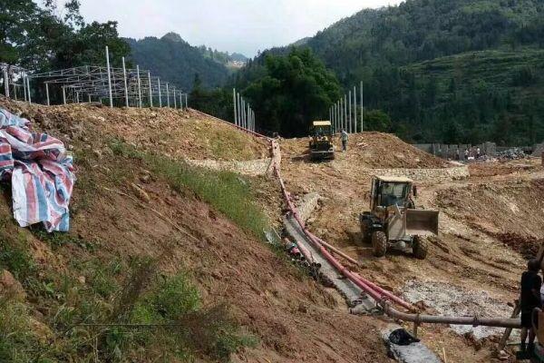 微型混凝土泵协助板桥村施工项目圆满完成